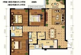 3室2厅2卫  105.19平米